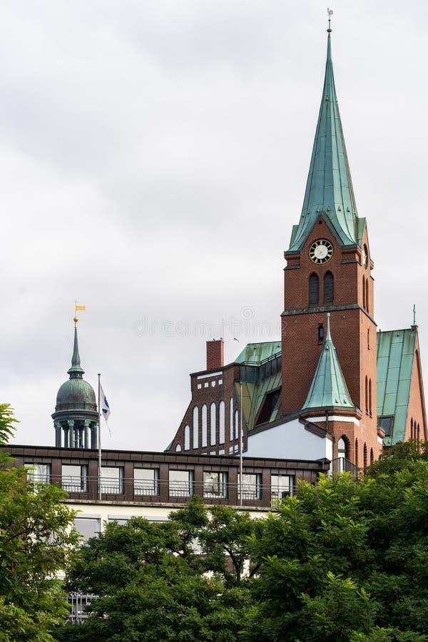 Opinión Gustaf Adolfs Church sueco en Hamburgo imagenes de archivo