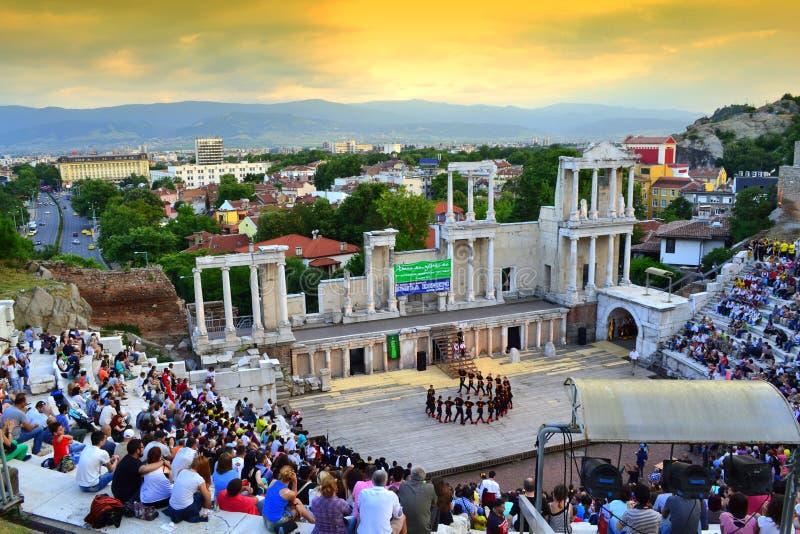 Opinión hermosa de la puesta del sol de Plovdiv Amphitheter imagen de archivo