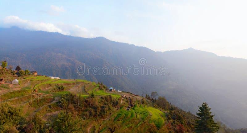 Opinión hermosa de la tarde de Sete - pueblo nepalés, Nepal fotos de archivo libres de regalías