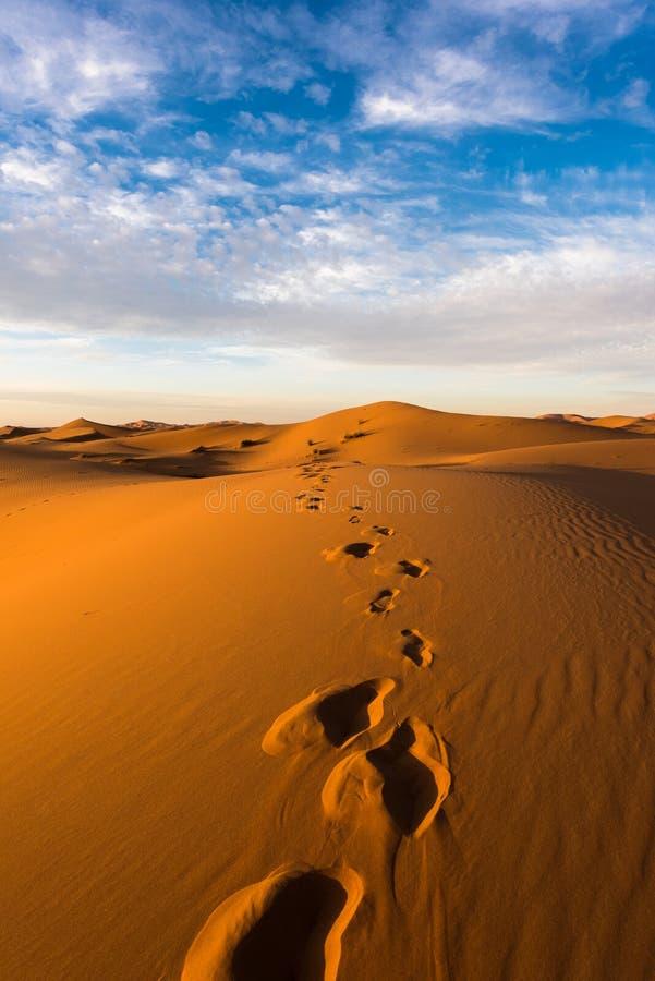 Opinión hermosa de las dunas de Chebbi del ergio, Sahara Desert, Merzouga, Marruecos del paisaje en África imágenes de archivo libres de regalías