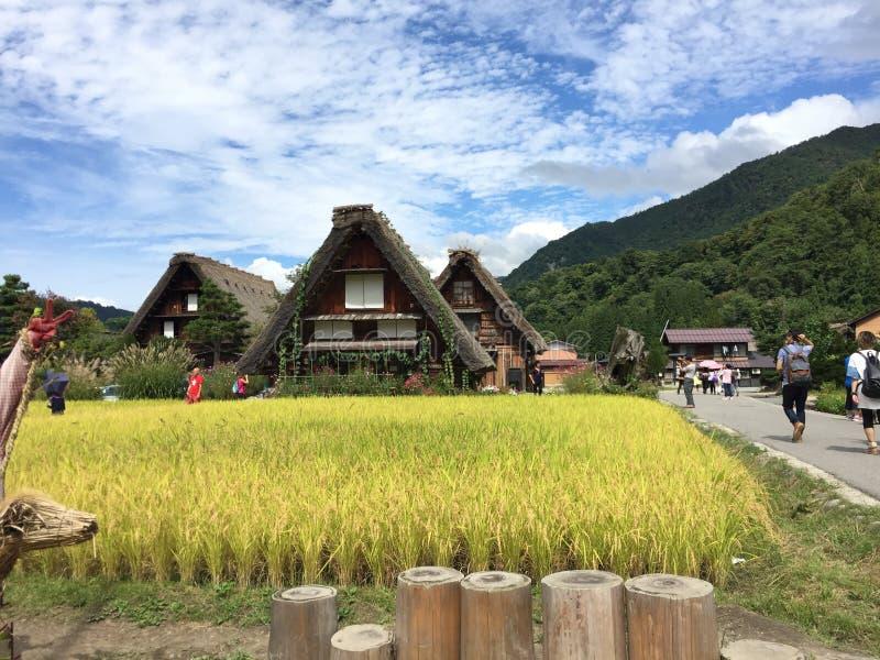 Opinión hermosa del día de las casas de la granja de Gassho-Zukuri con el cielo azul y las nubes claros en verano, Shirakawago, G imágenes de archivo libres de regalías