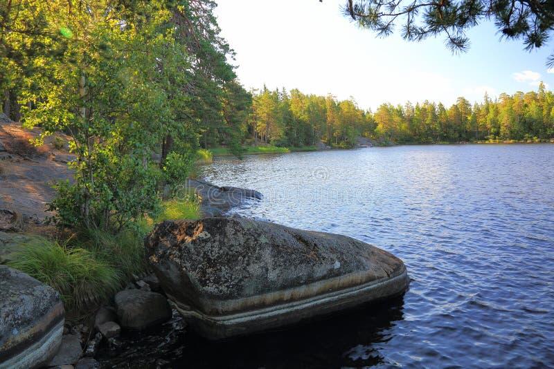 Opinión hermosa del paisaje de la naturaleza Lago con la línea rocosa de la costa, la superficie del agua azul y los árboles verd imagen de archivo