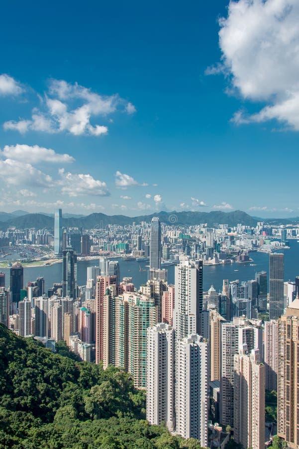 Opinión Hong Kong durante día soleado foto de archivo
