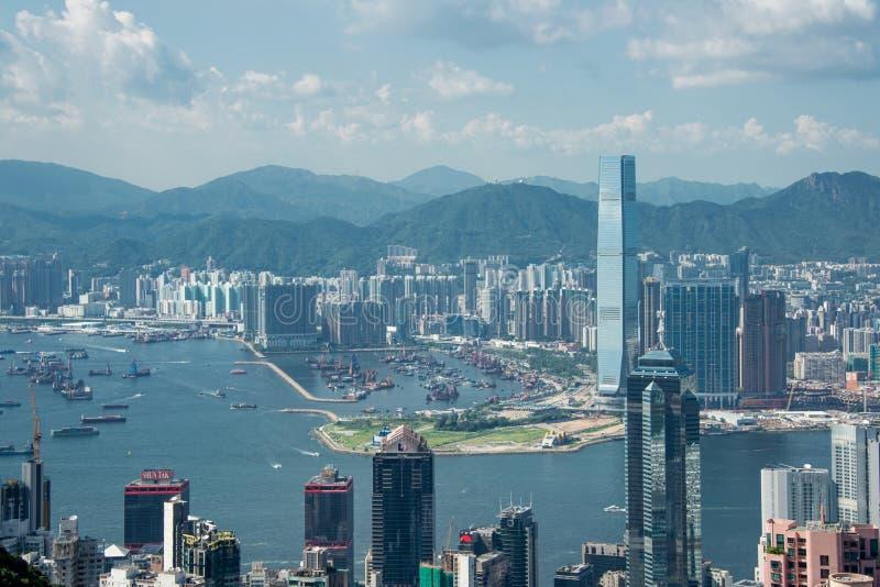 Opinión Hong Kong durante día soleado imagen de archivo libre de regalías