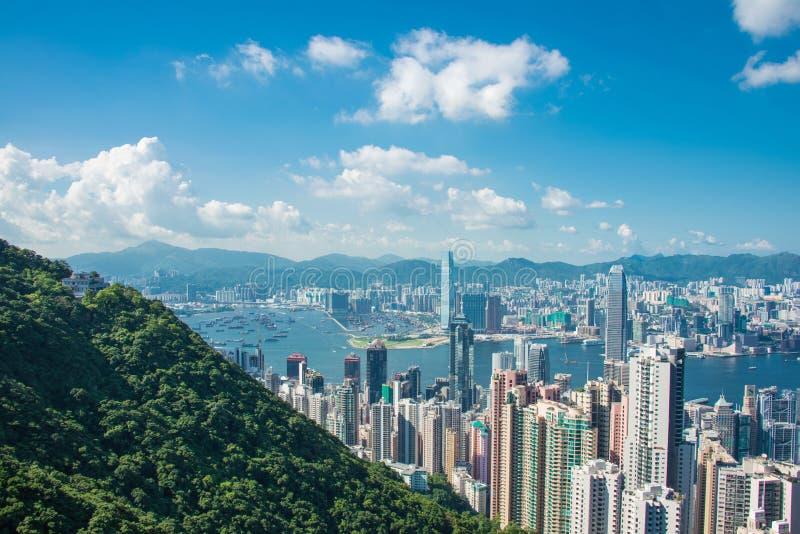 Opinión Hong Kong durante día soleado fotografía de archivo