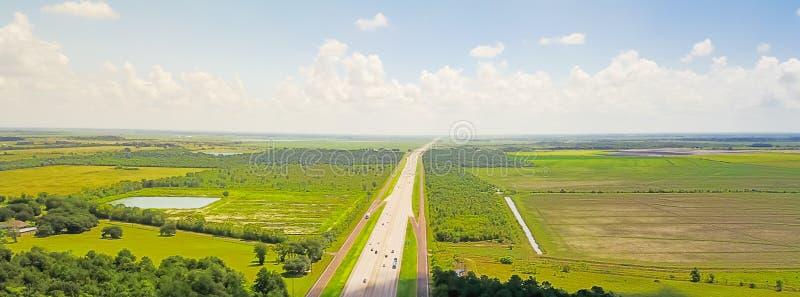 Opinión horizontal aérea del panorama de la carretera I-10 de Tejas a Lo imagen de archivo libre de regalías