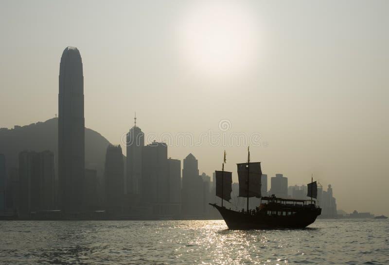 Opinión icónica del puerto de Hong-Kong imagenes de archivo