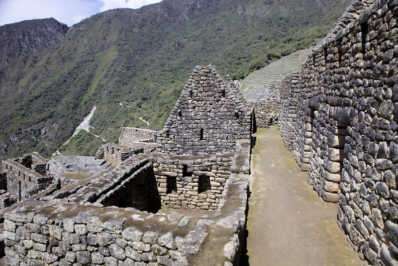 Opinión Inca City antiguo de Machu Picchu, Perú foto de archivo