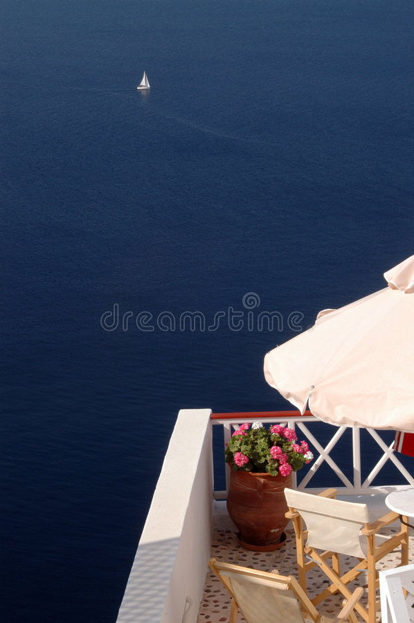 Opinión increíble Grecia de la isla del santorini imagen de archivo