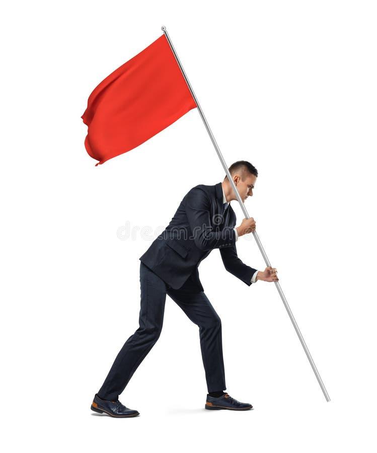 Opinión integral lateral un hombre de negocios serio joven que planta una bandera roja en el fondo blanco imagenes de archivo