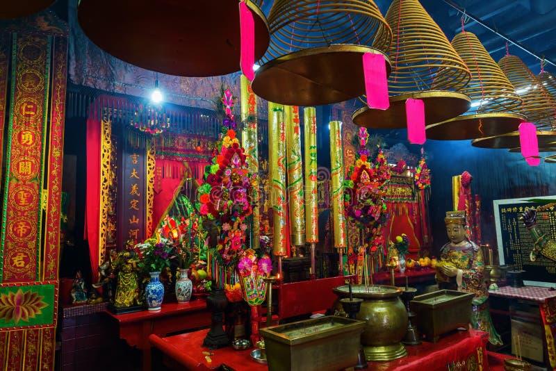 Opinión interior Kwan Tai Temple en Tai O fotos de archivo libres de regalías