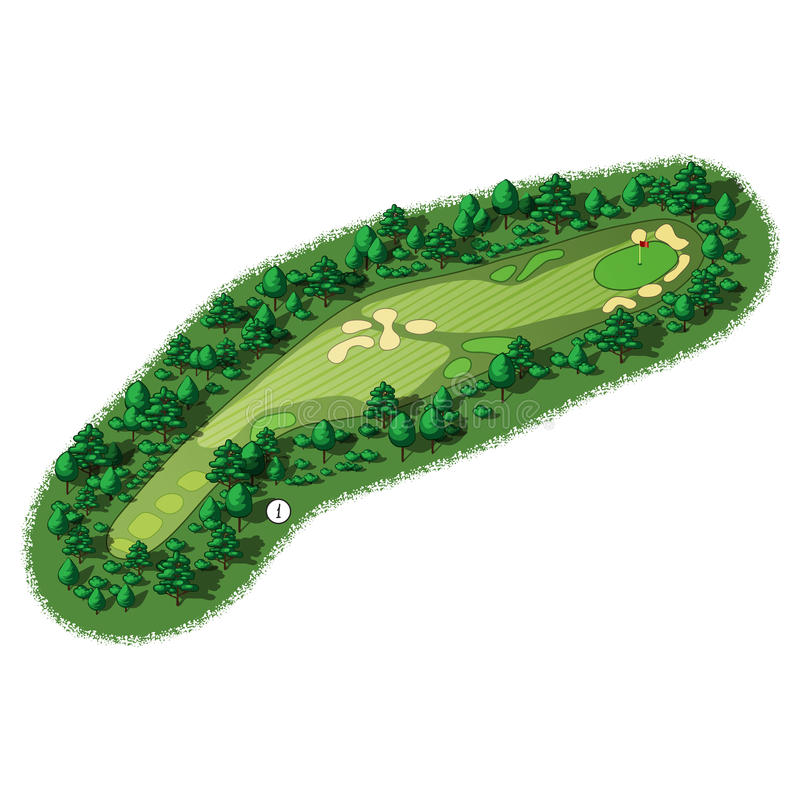 Opinión isométrica aérea del agujero del campo de golf del vector libre illustration