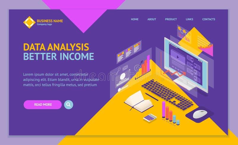 Opinión isométrica de la plantilla 3d de la página web del aterrizaje del concepto de la inversión de los datos del análisis Vect libre illustration