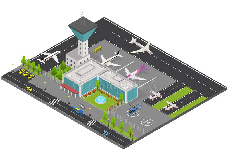 Opinión isométrica del concepto 3d del aeropuerto Vector stock de ilustración