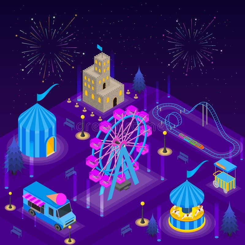 Opinión isométrica del concepto 3d del cartel de la tarjeta del parque de atracciones Vector libre illustration