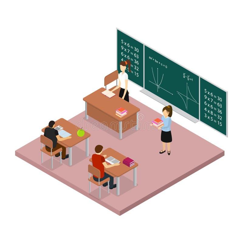 Opinión isométrica del concepto 3d de la educación escolar Vector ilustración del vector