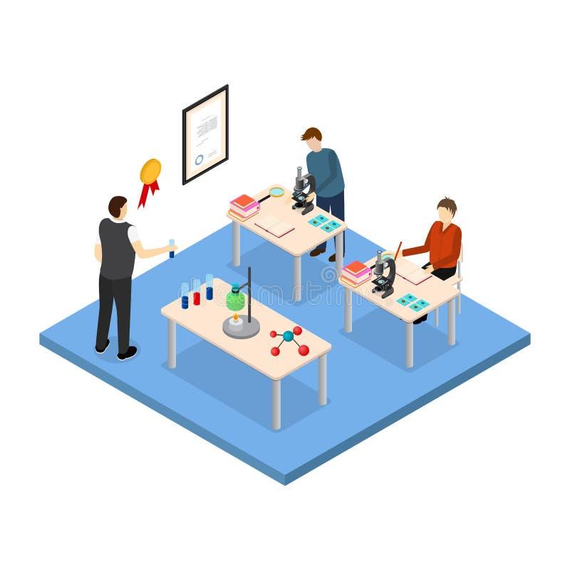 Opinión isométrica del concepto 3d de la educación escolar Vector libre illustration