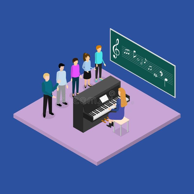 Opinión isométrica del concepto 3d de la educación escolar Vector stock de ilustración