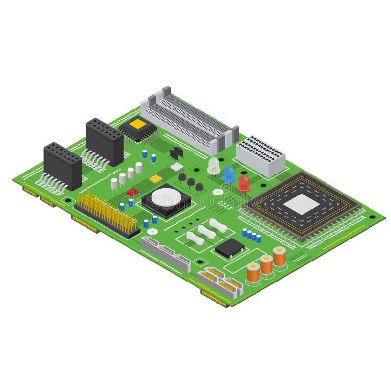 Opinión isométrica del tablero del ordenador electrónico Vector libre illustration