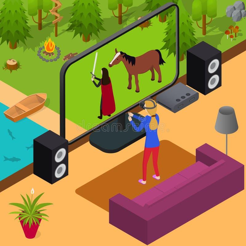 Opinión isométrica del videojuego del juego y de la muchacha del videojugador Vector libre illustration