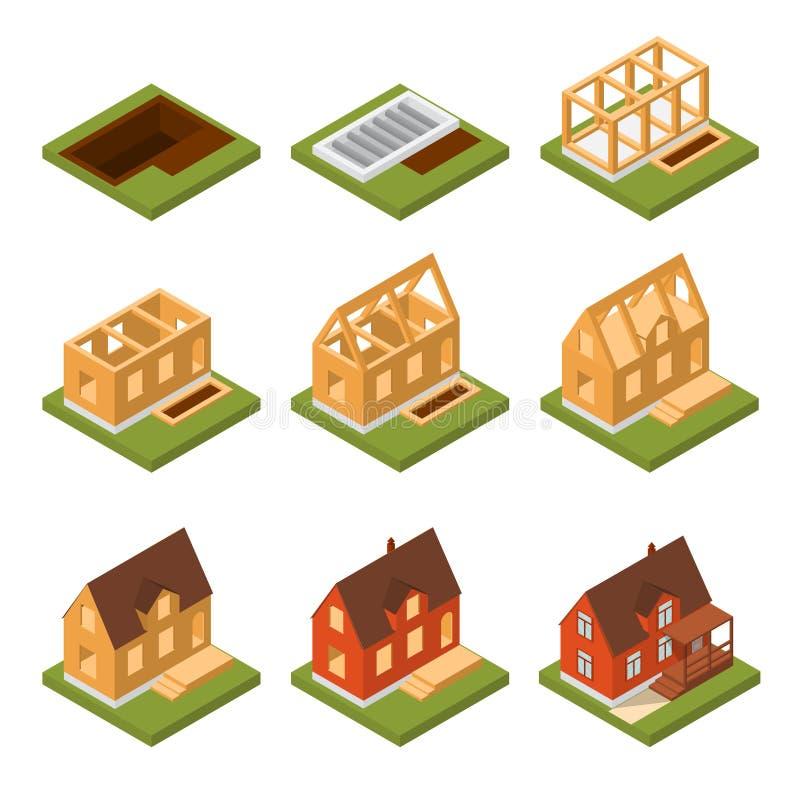 Opinión isométrica determinada de la casa de la construcción de la etapa Vector libre illustration