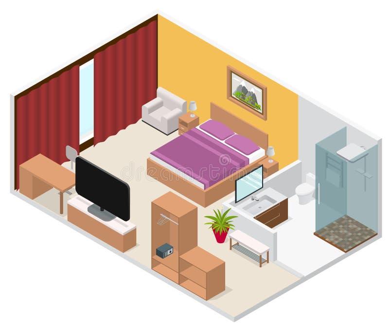 Opinión isométrica interior de la habitación Vector stock de ilustración