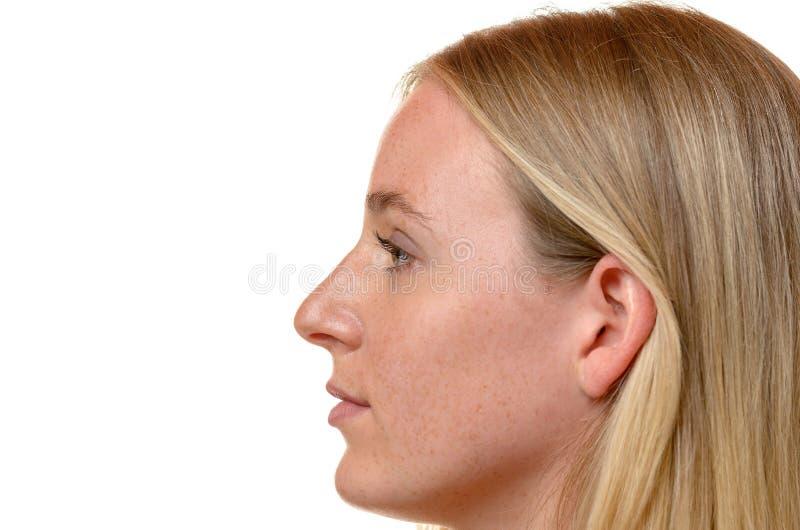Opinión lateral del perfil una mujer rubia atractiva fotos de archivo