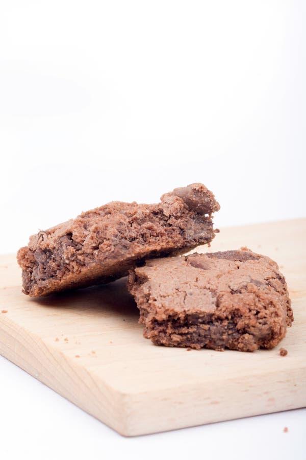 Opinión macra del primer de los brownie de las galletas del chocolate imagen de archivo libre de regalías