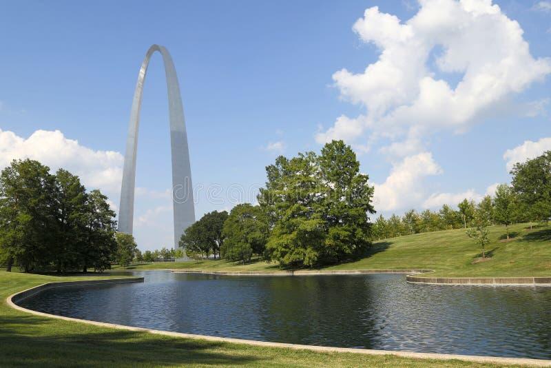 Opinión MES LOS E.E.U.U. del parque de Nationa del arco de la entrada de las señales de St. Louis foto de archivo
