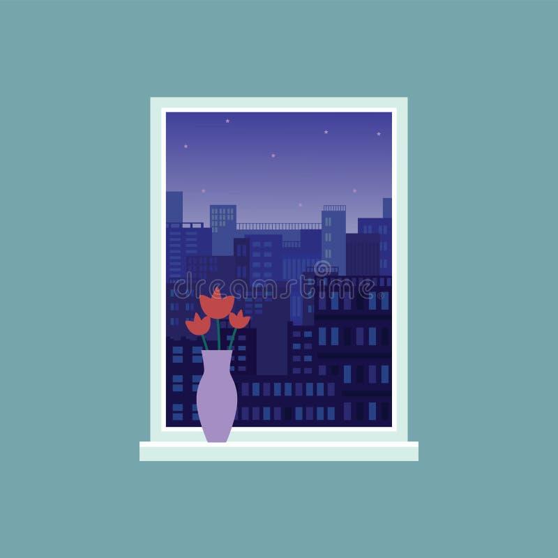 Opinión moderna de la ciudad de la noche de la ventana del sitio, cielo oscuro con las estrellas sobre ciudad el dormir stock de ilustración