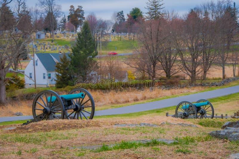Opinión Napoleon, cañón de 12 libras, situado en un parque del cementerio en el campo de batalla histórico nacional de Gettysburg fotografía de archivo libre de regalías