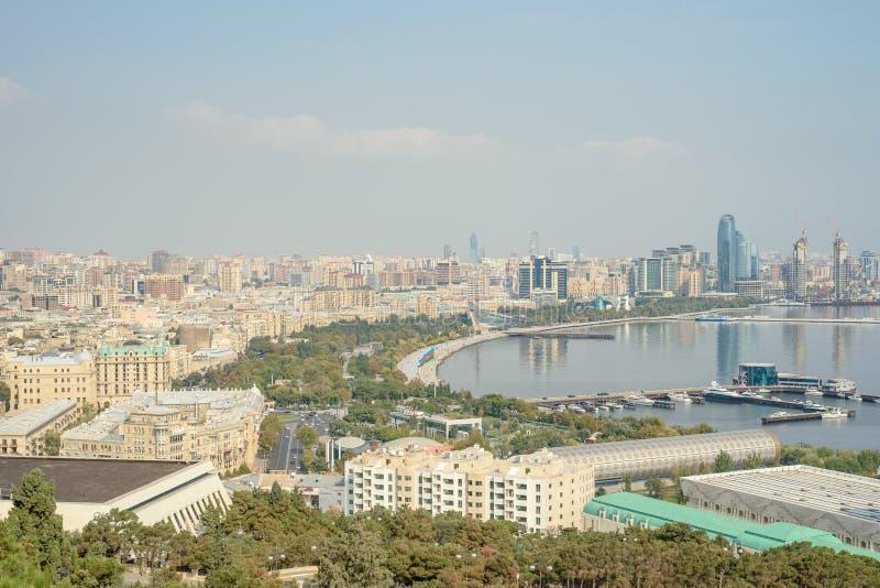 Opinión panorámica aérea de Baku de Baku, Azerbaijan imágenes de archivo libres de regalías