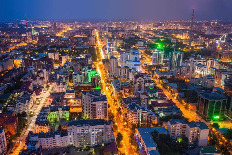 Opinión panorámica aérea de Ekaterimburgo imagen de archivo