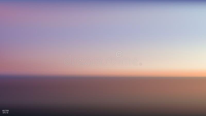 Opinión panorámica aérea del extracto de la puesta del sol sobre el océano Nada pero cielo y agua Escena serena hermosa Ilustraci ilustración del vector