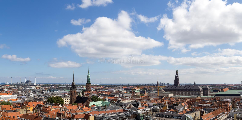 Opinión panorámica de Copenhague imagen de archivo libre de regalías