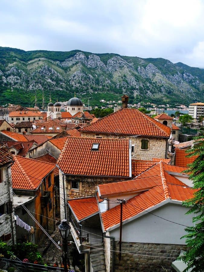 Opinión panorámica de Kotor, tejados que tejan rojos fotos de archivo