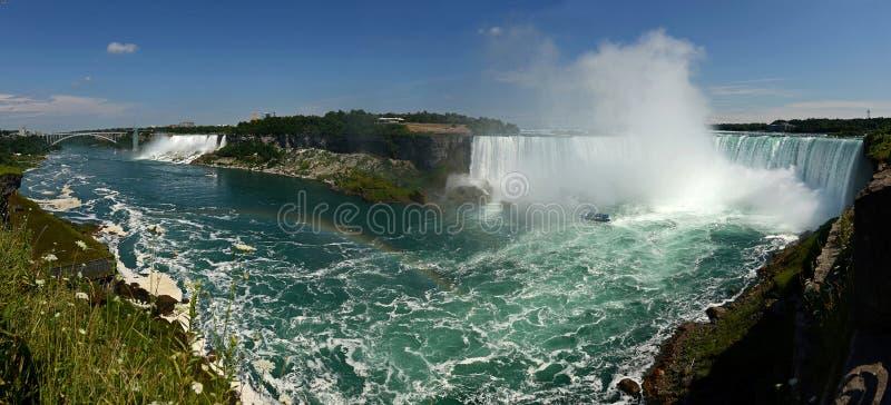 Opinión panorámica de la caída de Niagara fotos de archivo