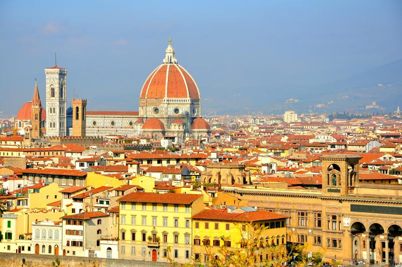 Opinión panorámica de la ciudad de Florencia, Italia fotos de archivo