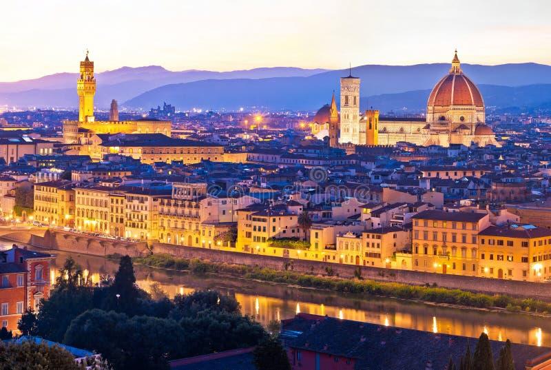 Opinión panorámica de la tarde del paisaje urbano de Florencia fotografía de archivo