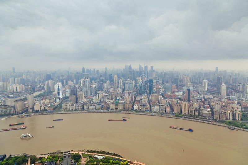 Opini?n panor?mica del horizonte de Shangai, Shangai opini?n panor?mica del horizonte de China, Shangai, Shangai China imagen de archivo