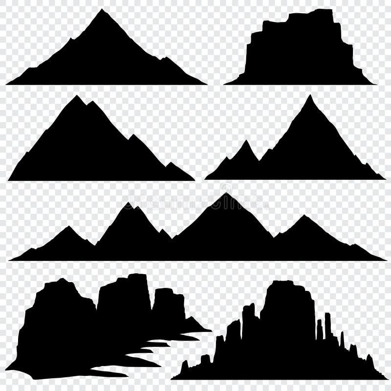 Opinión panorámica del horizonte del vector de la silueta de la montaña libre illustration
