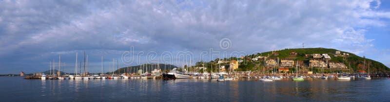 Opinión panorámica del paisaje de la costa del verano fotografía de archivo