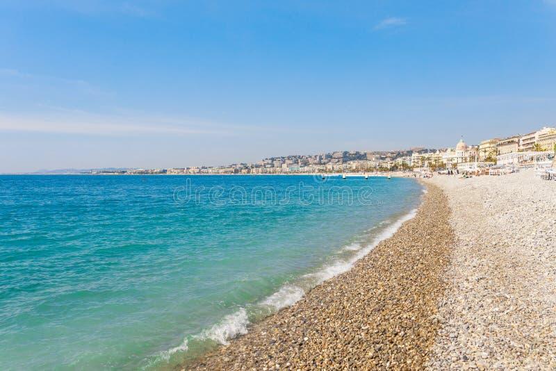 Opinión panorámica del paisaje de Niza, Cote d'Azur, Francia, Europa del sur Ciudad hermosa y centro turístico de lujo de riviera fotos de archivo