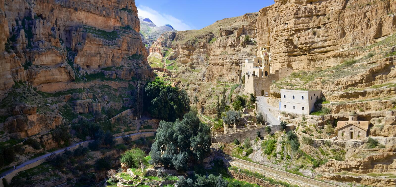 Opinión panorámica el santo George Monastery, Jerusalén foto de archivo libre de regalías
