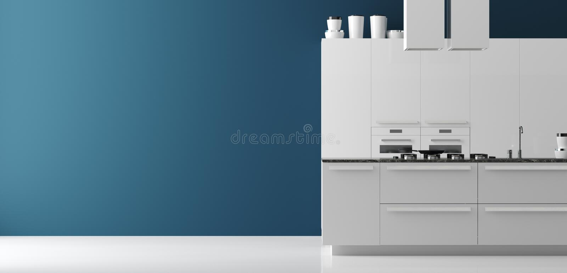 Opinión panorámica interior de la cocina contemporánea, mofa de la pared para arriba, estilo moderno stock de ilustración