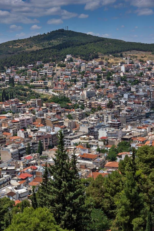 Opinión panorámica Lamia City, Grecia foto de archivo