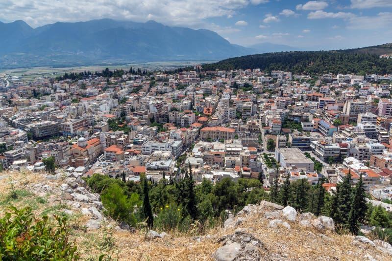Opinión panorámica Lamia City, Grecia foto de archivo libre de regalías