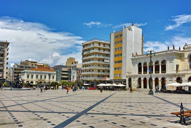 Opinión panorámica rey George I Square en Patras, Peloponeso fotografía de archivo