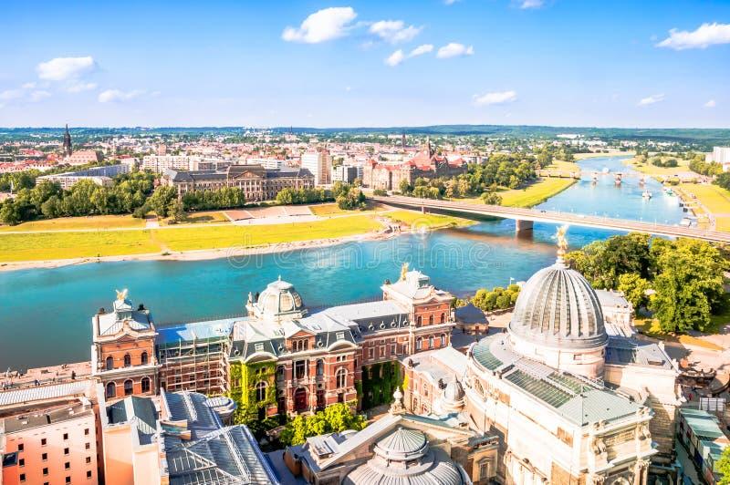 Opinión panorámica sobre Dresden del top de la iglesia Frauenkirche fotos de archivo libres de regalías