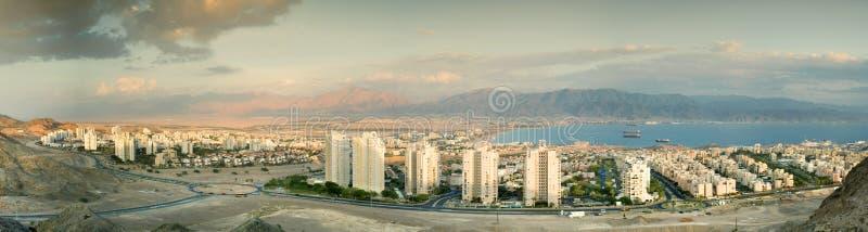 Opinión panorámica sobre Eilat y Aqaba imagen de archivo libre de regalías